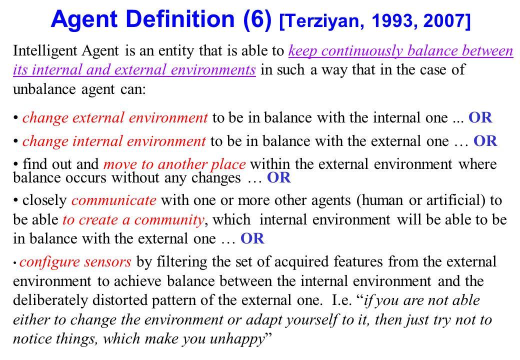 Agent Definition (6) [Terziyan, 1993, 2007]